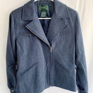 Ralph Lauren Navy Wool Moto Jacket